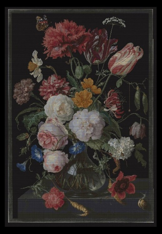 Набор для вышивания Thea Gouverneur 785.05 Still Life with Flowers in a glass Vase, 1650-1683, Jan Davidsz. De Heem