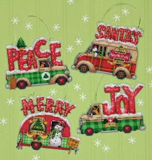 Dimensions 70-08974 Holiday Truck Ornaments