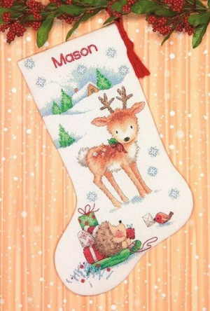 Dimensions 70-08978 Reindeer and Hedgehog Stocking