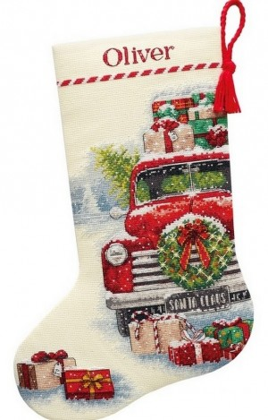 Dimensions 70-08986  Santa s Truck Stocking