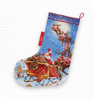 "LetiStitch 989 The Reindeers on it's way! Stocking (Сапожок ""Олени уже в пути!"")"