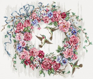 LetiStitch 990 Hummingbird Wreath (Колибри и венок)