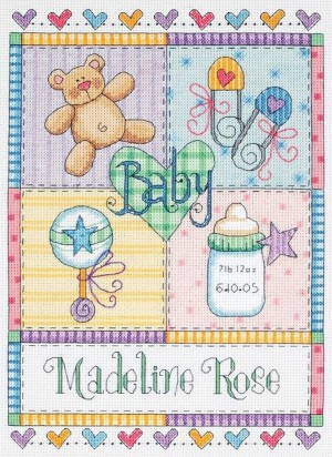 Dimensions 73104 Baby Squares Birth Record